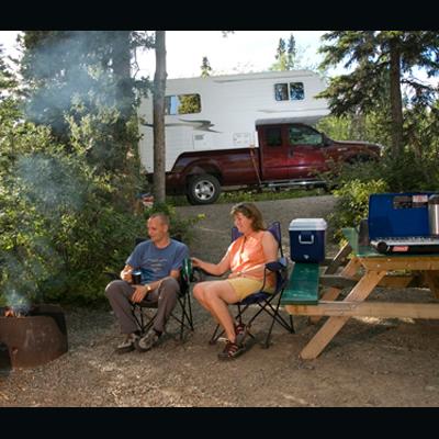 Couple enjoying camping.