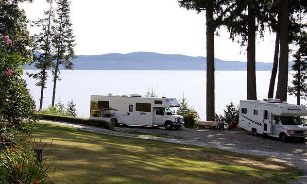 2 RVs parked with an oceanside view Garnet Rock, Powell River.