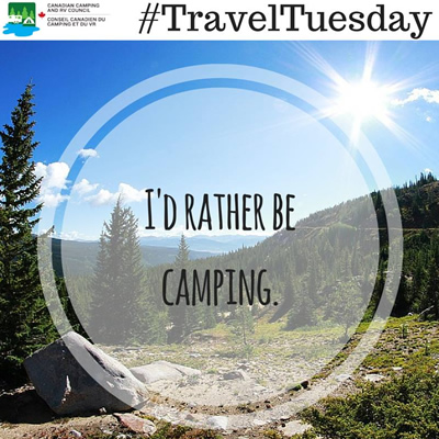 Picture of camping spot with the words