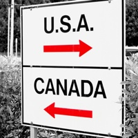 A sign giving at a Canada/USA border crossing.