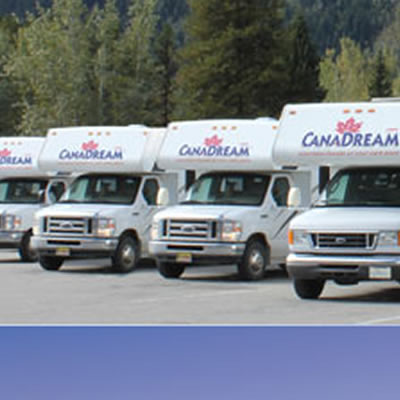Picture of row of Canadream recreational vehicles.