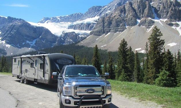 Carla Rogoza's trailer at the Icefields Parkway near Jasper.