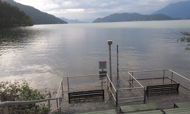 Benches underwater at Harrison Hot Springs, B.C.