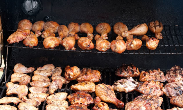 A smoker load of chicken.