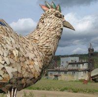 Chicken's mascot 'Mr Eggee' overlooking the Pedro dredge.