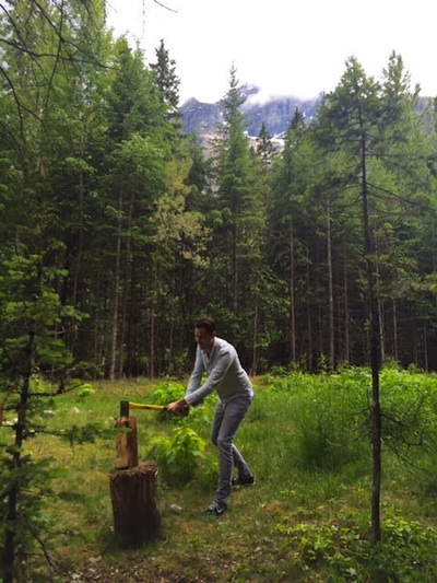 Joost chopping firewood in Banff National Park.