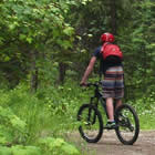 people riding their bikes at Christina Lake, BC.