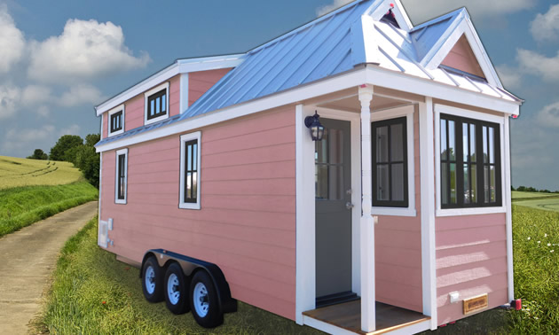 Picture of pink tiny house RV unit.