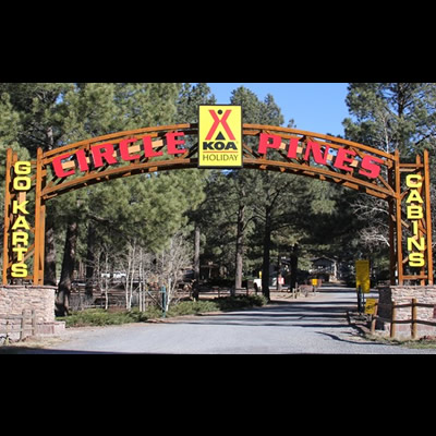 The Circle Pines KOA campground, now open year-round.
