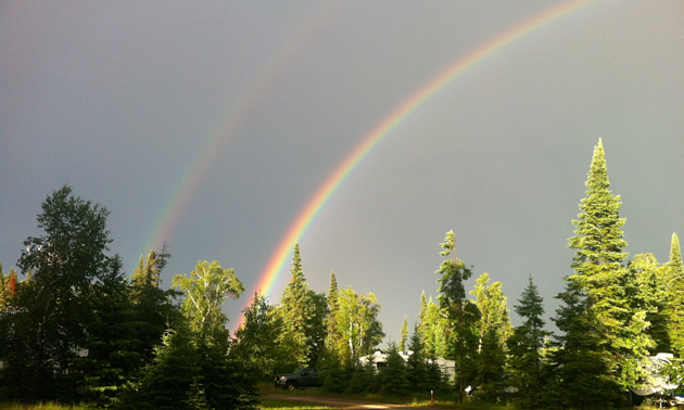A beautiful double rainbow over the Hamm's site at Falcon Lake, Manitoba, after a thunderstorm.