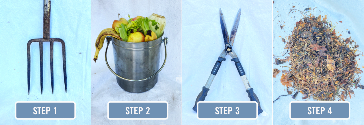A collage of four images: a garden fork, a bucket of kitchen scraps, a pair of hedge clippers, and a pile of dry leaves.