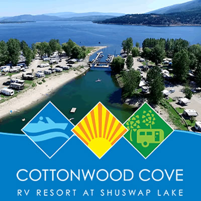Graphic of the Cottonwood Cove Resort on Shuswap Lake.