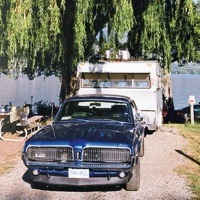 Restored 1968 Cougar GT and trailer, Golden BC 2012.