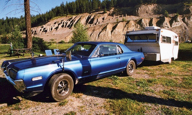 Restored 1968 Cougar GT and trailer, Golden BC 2012.