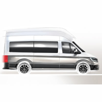 A teaser sketch of the new Volkswagen Crafter-based camper van.