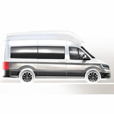 A teaser sketch of the new Volkswagen Crafter-based camper van.