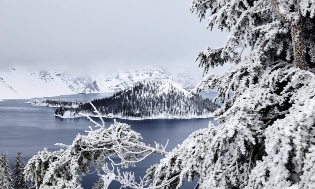 snowy mountains, lake and trees