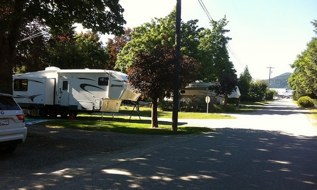 One of the well-shaded sites at Scotties RV Park & Campground in Creston, B.C.