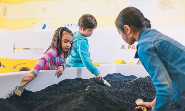 Children digging in dig pit.