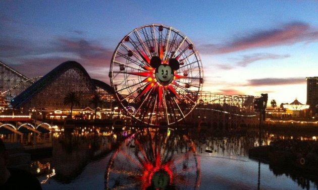 Disneyland's Paradise Pier is seen here against the evening sky. Photo courtesy Laura Menard