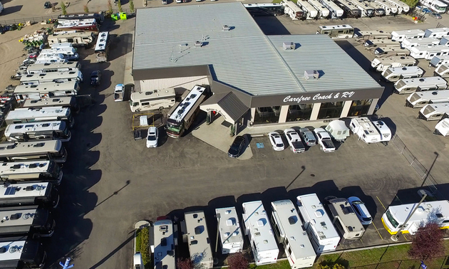aerial shot of an RV dealership