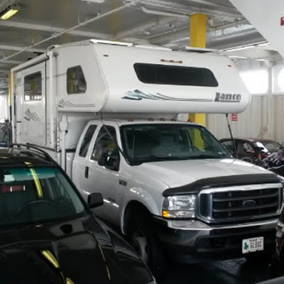 Picture of camper on a ferry.