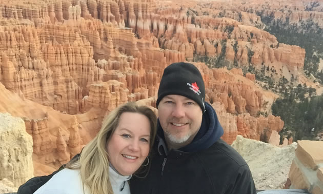 Reace and Tammy Harmatuik are visiting Bryce Canyon in Utah.
