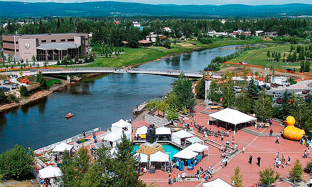 overhead view of a festival in Fairbanks, AK