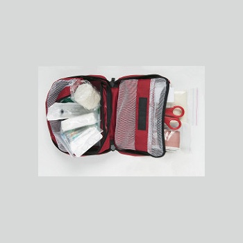 A first aid kit that is open to show its contents.