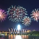 Fireworks in a darkened sky