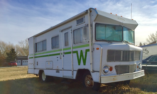 A Winnebago Indian motorhome with the distinctive 'Flying W' design.