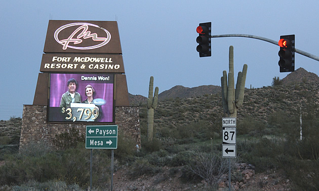 Sign for the casino in Fort McDowell, Arizona