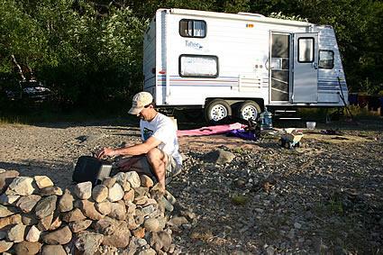 RVer building a campfire