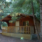 Rustic cabin at Gold Panner Campground in Cherryville, B.C.a