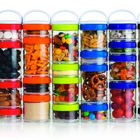 A group of colourful GoStack containers filled with a variety of items.