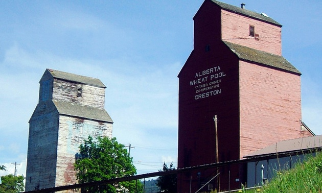 The famous grain elevators in Creston, BC can been seen while sipping coffee at Creative Fix.