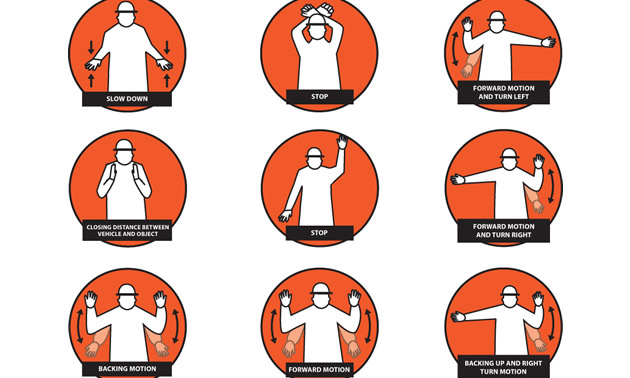 Graphic of hand signals.