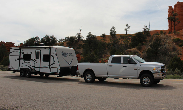 This travel trailer has seen its share of RV holidays.