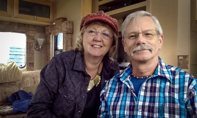 Ross and Deborah are inside their 2006 30-foot Carriage fifth wheel.