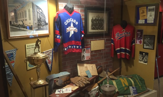 Display case at the United States Hockey Hall of Fame museum.