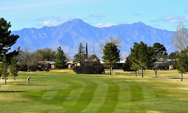 Hole #6, Par 4, with Sierra Vista Mountains in background