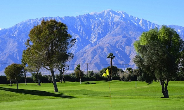 Hole No. 7 with Mount San Jacinto in the background.