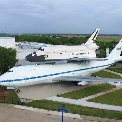 Space Center Houston's newest exhibit features the first shuttle carrier aircraft, NASA 905, and the high-fidelity shuttle replica Independence.