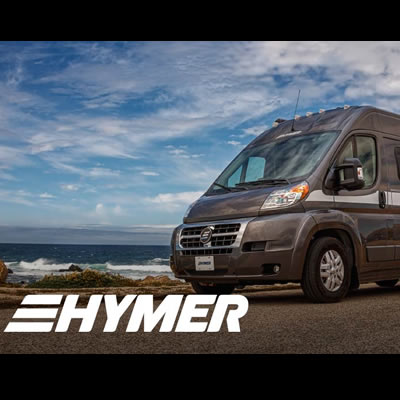 Hymer brand logo and picture of van.