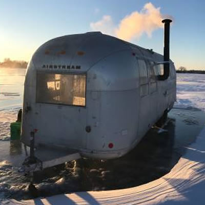Picture of Airstream trailer converted into an ice house.