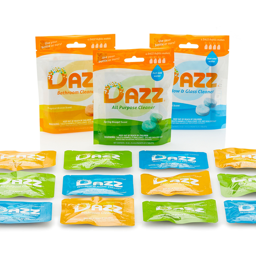 DAZZ cleaning products all lined up