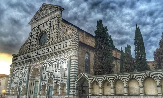 Facade of Santa Maria Novella Basilica, Florence, Italy.