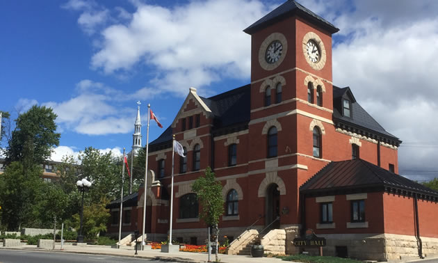 Picture of red brick building - City Hall in Kenora.