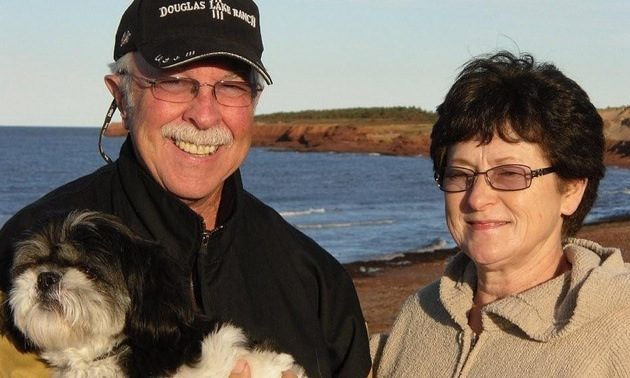 Ken and Brenda Williams with their dog Digby.