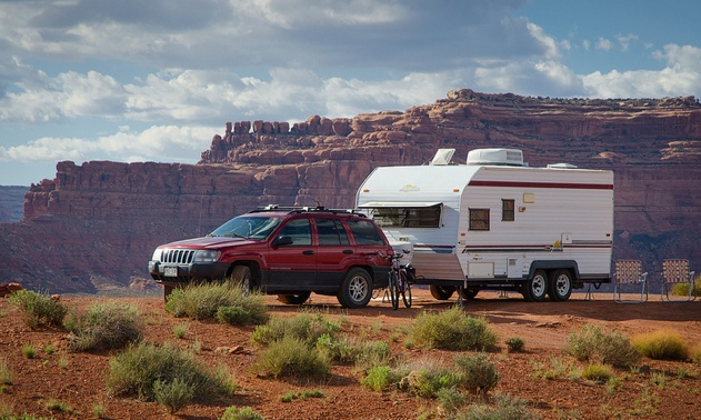 Kit Frost's rig, a Sunline Saturn at Valley of Gods, a Bureau of Land Management area in southeast Utah.